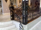 This beautiful wrought iron railing is powder coated for added luster.