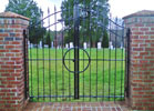 This is a custom built wrought iron gate. It makes a statement.